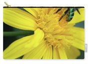 Green Bee On Yellow Daisy Carry-all Pouch