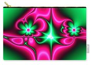 Green Flowers On Pink Ribbons Fractal 64 Carry-all Pouch