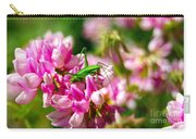 Green Grasshopper On Pink Flowers Carry-all Pouch