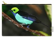 Green Headed Bird On Branch Carry-all Pouch