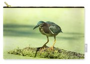 Green Heron In Green Algae Carry-all Pouch