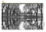 Green Lake Bathhouse Black And White Reflection Carry-all Pouch