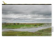 Green Landscape With Steamy River Carry-all Pouch