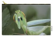 Green Mantis With Garden Background Vector Carry-all Pouch