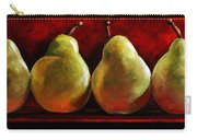 Green Pears On Red Carry-all Pouch by Toni Grote