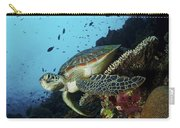 Green Sea Turtle Resting On A Plate Carry-all Pouch
