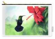 Green-throated Carib Hummingbird And Red Hibiscus Carry-all Pouch