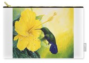 Green-throated Carib Hummingbird And Yellow Hibiscus Carry-all Pouch