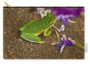 Green Tree Frog And Flowers Carry-all Pouch