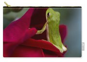Green Tree Frog And Red Roses Carry-all Pouch