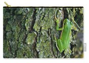 Green Tree Frog On Lichen Covered Bark Carry-all Pouch