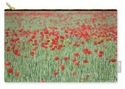 Green Wheat And Red Poppy Flowers Field Carry-all Pouch
