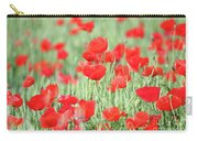 Green Wheat And Red Poppy Flowers Carry-all Pouch