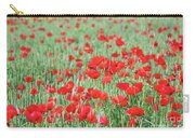 Green Wheat With Poppy Flowers Carry-all Pouch