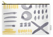 Grey And Yellow Shapes- Abstract Painting Carry-all Pouch by Linda Woods