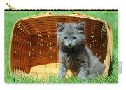 Grey Fluffy Kitten In Market Basket Carry-all Pouch