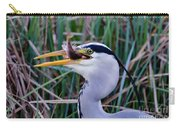 Grey Heron With Fish Carry-all Pouch