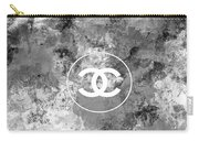 Grey White Black Chanel Logo Print Carry-all Pouch