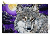 Grey Wolf And Full Moon Carry-all Pouch