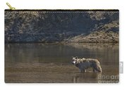 Grey Wolf In The Yellowstone River-signed-#4363 Carry-all Pouch