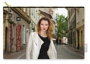 Grinning Attractive Woman Standing On Cobblestone Street Of Uppe Carry-all Pouch