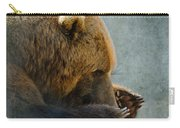 Grizzly Bear Lying Down Carry-all Pouch by Betty LaRue