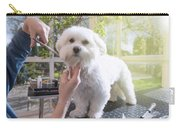 Grooming The Neck Of Adorable White Dog Carry-all Pouch