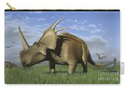 Group Of Dinosaurs Grazing In A Grassy Carry-all Pouch