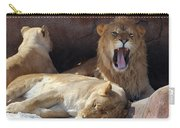 Growling Male Lion In Den With Two Females Carry-all Pouch