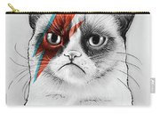 Grumpy Cat As David Bowie Carry-all Pouch by Olga Shvartsur