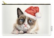 Grumpy Cat As Santa Carry-all Pouch by Olga Shvartsur