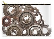 Grunge Gear Cog Wheels Mechanism Isolated On White Carry-all Pouch