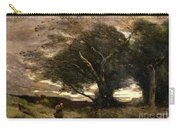 Gust Of Wind Carry-all Pouch by Jean Baptiste Camille Corot