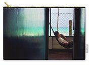 Guy With The Hat Lying In A Hammock On The Porch Of The Old House And Relaxing By The Caribbean Sea Carry-all Pouch
