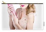 Hair Style Model. Pinup Girl With Large Pink Comb Carry-all Pouch
