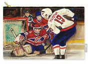 Halak Blocks Backstrom In Stanley Cup Playoffs 2010 Carry-all Pouch by Carole Spandau