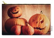 Halloween Pumpkins, Carved Jack-o-lantern. Carry-all Pouch