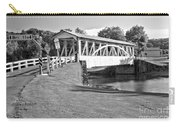 Halls Mill Covered Bridge Landscape Black And White Carry-all Pouch
