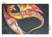 Hand Painted Silk Scarf Dragon On Black Carry-all Pouch