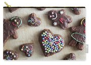 Handmade Decorated Gingerbread Heart And People Figures Carry-all Pouch