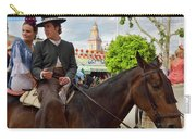 Handsome Man And Beautiful Woman Drinking On Horseback With 2015 Carry-all Pouch
