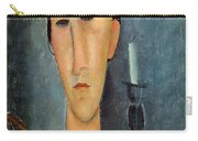 Hanka Zborowska With A Candlestick Carry-all Pouch by Amedeo Modigliani