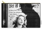 Hanna Maron And The Shadow Of Peter Lorre In M  1931 Carry-all Pouch