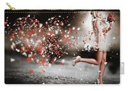 Happy Flower Girl In A Running Love Heart Romance Carry-all Pouch