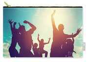 Happy Friends Family Jumping Together Having Fun Carry-all Pouch