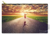 Happy Woman Jumping On Long Straight Road Carry-all Pouch