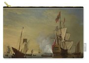 Harbor Scene An English Ship With Sails Loosened Firing A Gun Carry-all Pouch