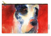 Harlequin Great Dane Watercolor Painting Carry-all Pouch by Svetlana Novikova