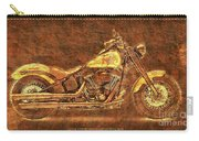 Harley Davidson Classic Bike, Original Golden Art Print For Man Cave Carry-all Pouch