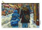 Exceptional Canadian Artist Winter Scene Paintings Downtown Montreal Achetez Scenes De Quebec  Carry-all Pouch